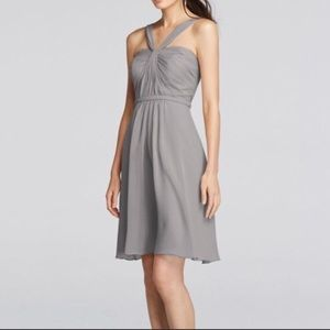 David's Bridal Light Gray Bridesmaid Dress -Size 0